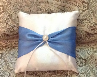 ring bearer pillow custom made satin pillow white or ivory with blue bow