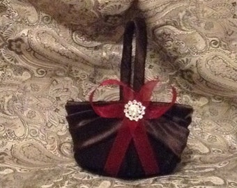 wedding flower girl basket chocolate brown with red or any color ribbon