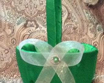 flower girl basket wedding green custom made