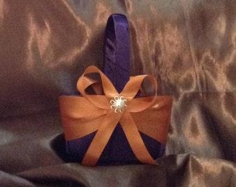 wedding flower girl basket dark plum purple and burnt orange color custom made