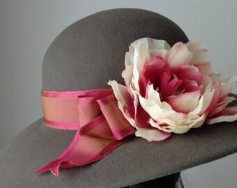 Ladies Picture Hat, Ladies Felt Hat, Ladies Hat, Fancy Ladies Hat, 'Jeanine' ~ Taupe Fur Felt Picture Hat by Babette's Hatworks