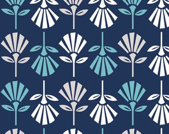 Riley Blake Fabric - Half Yard of Gracie Girl Flowers in Blue