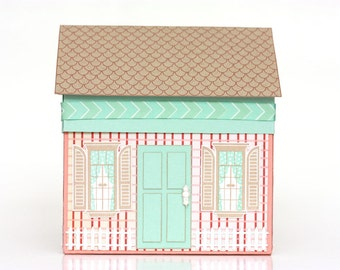 Handmade Paper House Gift Box - Candy Stripes - Gift Wrap - Packaging - Birthday - Housewarming - Holidays - Hostess Gift