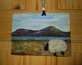 Handpainted Landscape with Black face sheep brooch pin felted crochet