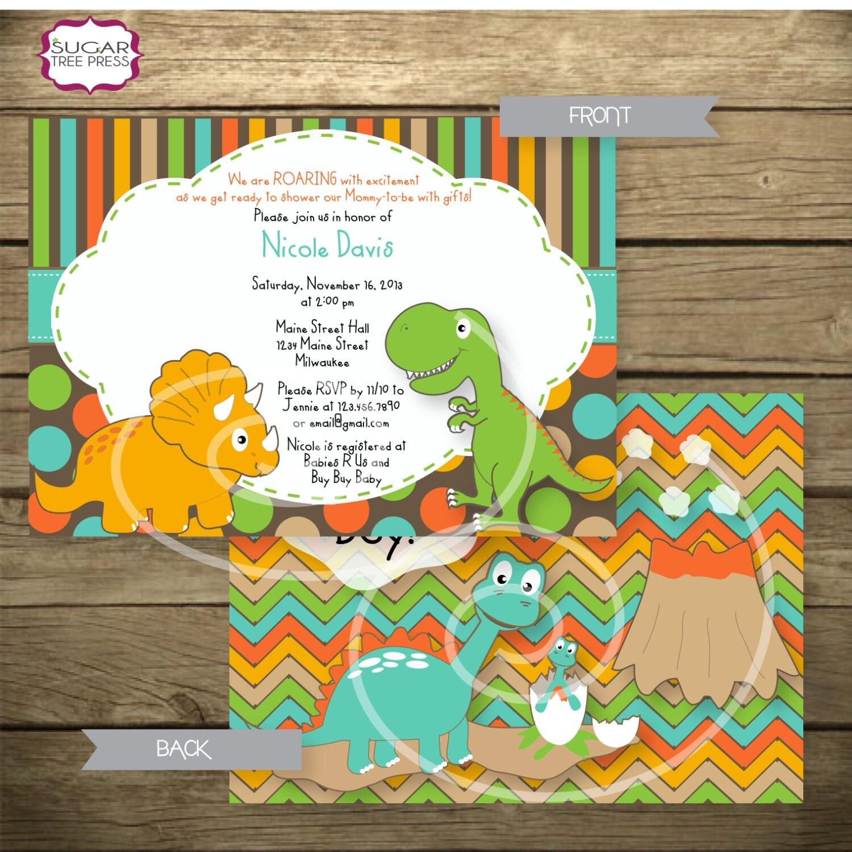 dinosaur themed baby shower invitation printable