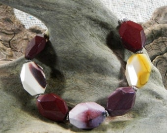 "Yellow, red and purple Mookaite jasper bracelet 8.5"" long semiprecious stone jewelry  in a colorful gift bag 732"