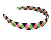 Navy, Apple Green, Hot Pink, White Woven Headband - Made to Match - M2MG Showers of Flowers Woven Headband