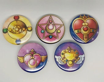 Sailor Moon Transformation Brooch pinback buttons
