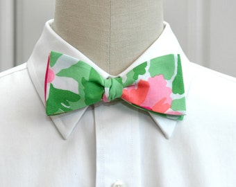 Men's Bow Tie, green and pink Everything Nice, Carolina Cup bow tie, wedding party bow tie, groom bow tie, groomsmen gift, Lilly menswear