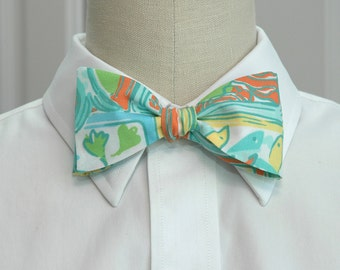 Men's Bow Tie in Lilly fabric, lemon yellow, turquoise, aqua, wedding party attire, groomsmen gift, groom bow tie, ring bearer bow tie