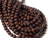 Magkuno Wood Bead, 8mm, Dark to Medium Brown, Round, Small, Smooth, Natural Wood Beads, Full Strand, 50pcs - ID 1372-DK
