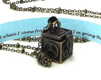 Graduation Jewelry / Graduation Necklace / Graduation Gift / Peace Sign Locket / Secret Message Jewelry / Hidden Compartment Necklace