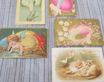 Lot of 5 Antique Embossed Easter Cards