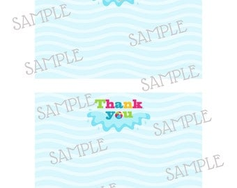 Pool party 4x6 thank you flat card instant download digital file - DIY