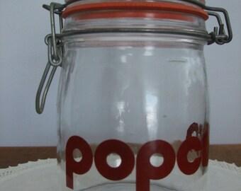 Vintage Hinged Glass Popcorn Jar by Triomphe