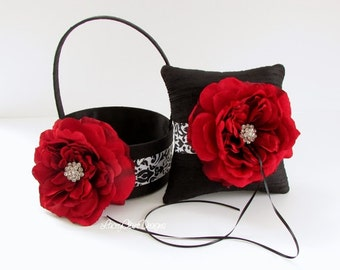 Flower Girl Basket and Wedding Ring Pillow Set - Damask Black and White