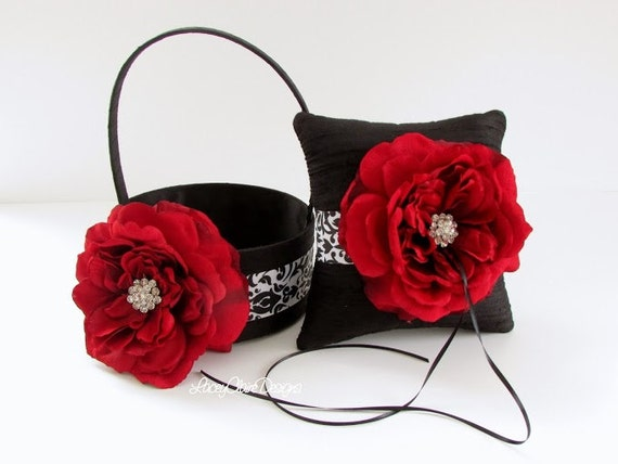 Damask Flower Girl Basket And Ring Pillow : Flower girl basket and wedding ring pillow set damask black