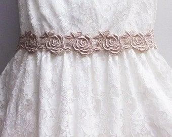 Bridal Sash, Gold Bridal Headband, Lace Bridal Sash, Lace Bridal Hairpiece, Wedding Sash, Bridal Hair Piece, Gold Bridal Sash, Bridal Belt