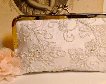 Bridal Clutch Ivory or White Alencon Lace Rose Pattern