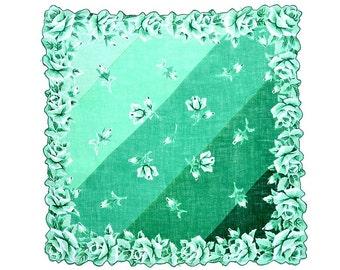 VINTAGE HANKIE, Green Tonal Geometric, Green & Whtie Rose Border, Rose Scattered Center, Shaped Hem, Green Cording, Excellent Condition
