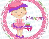 Easter IRON ON transfer - Little Easter Basket Girl