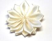"Ivory Satin Ribbon Flowers - 1 1/2"" - Set of 3 or 6"