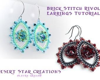 Brick Stitch Rivoli Earring Pattern, PDF Tutorial, Bezeled Rivoli Framed Earring Tutorial