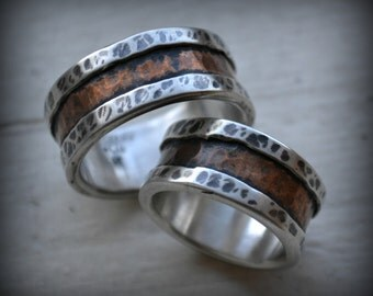 rustic wedding rings - fine silver and 14K rose gold-his and hers-handmade artisan designed wedding bands - his and hers - customized rings