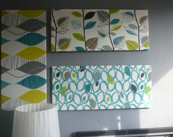Teal Blue 4 Piece HUGE 7' Fabric Wall Art Funky Modern Designer Cotton Picture Hanging 2 DAY DELIVERY Home Decor