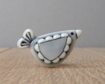 Mini bird pin tie tac lapel pin pale blue glazes hat pin handmade porcelain miniature adornment cute birdie
