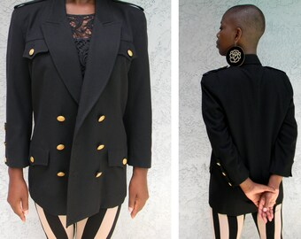 Black Wool Coat - Vintage 90s Fitted Black Marching Band Style Jacket - Military, Navy Style Double Breasted Blazer w gold buttons, Size 6