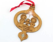 Baby's 1st Christmas Personalized Wood Nativity Ornament Bamboo