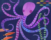 Eight Twisted Tentacles, Octopus Canvas Art Print