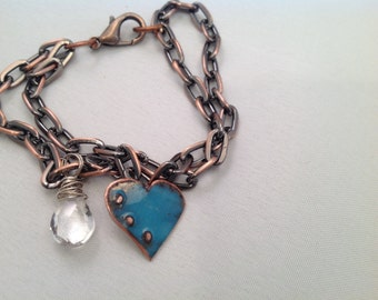 Copper bracelet with enameled hearts and wire wrapped stones