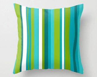 Modern Outdoor Pillow, Striped Outdoor Pillow, Geometric Outdoor Pillow, Turquoise Outdoor Pillow,  Porch Pillow , Patio Pillow