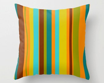 Modern Striped Throw Pillow Cover, Mid Century Modern Throw Pillow Cover, Cool Throw , Pillow Cover, Decorative Pillow Cover, Orange