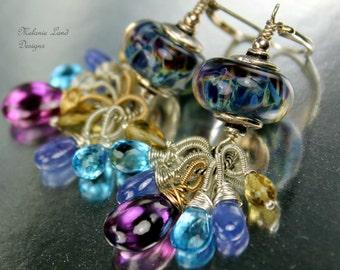 Fairy's Fantasy ~ Artisan lampwork beads, Kunzite, Tanzanite, Swiss blue Topaz,Beer Quartz Mixed Metal Earrings