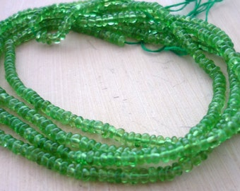 Smooth polished tsavorite garnet rondelle beads 2mm 1/4 strand