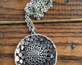 Chunky Necklace with Large Pendant, Silvertone