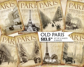 Old Paris Vintage Backgrounds Shabby chic paper Scrapbook Decoupage 5x3.5 inch (439) set of 2 sheets