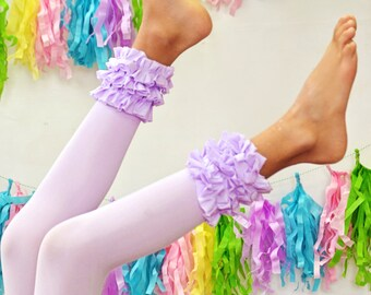 Lavender Ruffle footless tights