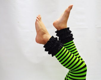 Black and green stripe ruffled footless tights