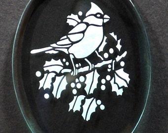 Carved Glass Cardinal Christmas Ornament
