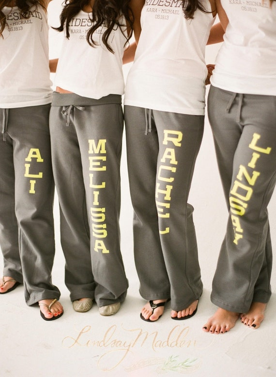 SALE! 15% off - use code SALE15 -  Personalized Wedding Sweatpants - Bridesmaid Gift - Will You Be My Bridesmaid - sister9designs