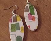 City girl earrings recycled wood multi colored buildings