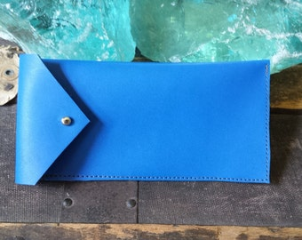 Handmade Cobalt Leather Sunglasses Case
