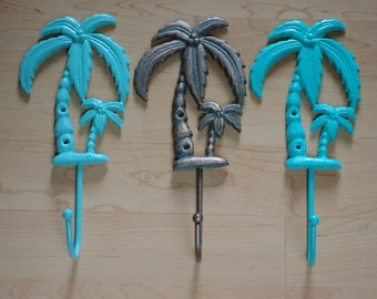 Tropical Palm Tree Wall Hook - Cast Iron Hook - Beach Decor - Housewares