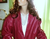 LAST CHANCE 80s Fuschia Pink Leather Jacket by Berman's SMALL
