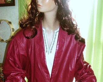 REDUCED 80s Fuschia Pink Leather Jacket by Berman's SMALL