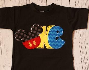 Mickey mouse birthday shirt, one, 1, girl boy t shirt,